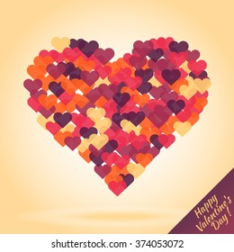 Silhouette of heart from small hearts. Confetti of bright multi-colored hearts. Vector illustration. Cover for Valentine's Day card or poster. Symbol of love.