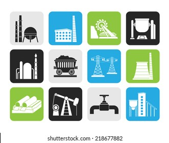 Silhouette Heavy industry icons - vector icon set