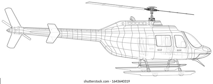 Silhouette of helicopter. Created illustration of 3d. Vector wire-frame concept.