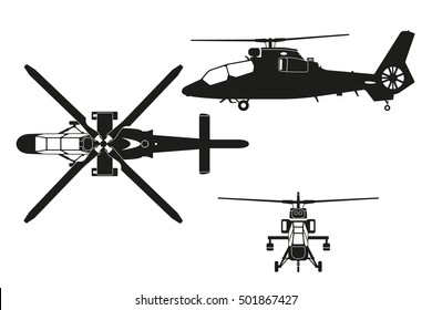 Silhouette of helicopter. The helicopter in three views: top view, side, front. Realistic image of helicopter on  white background. Vector illustration