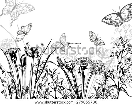 Silhouette of herbs and flowers, and butterfly, hand drawn vector illustration