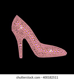 Silhouette of high heel shoe made with little pink diamonds. Vector illustration for your graphic design.