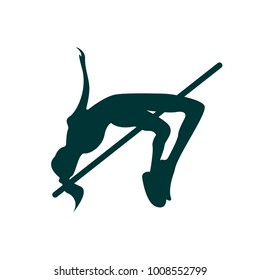 Silhouette of a high jump vector illustration on the white background.