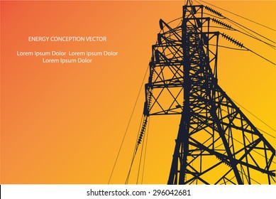 Silhouette of high voltage power lines on orange background. Vector illustration.
