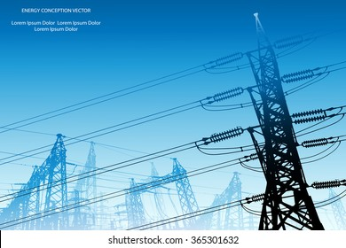 Silhouette of high voltage power lines on blue background. Vector illustration.