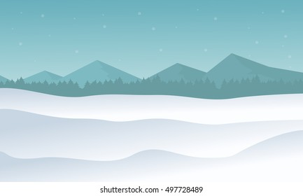 Silhouette of hill winter scenery vector illustration