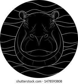 Silhouette of a hippopotamus head on abstract background. Vector.