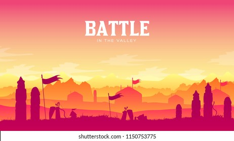 Silhouette historical battlefield at sunset design. Military silhouettes fighting scene on war landscape background. Medieval battle scattered arms and armor around the field