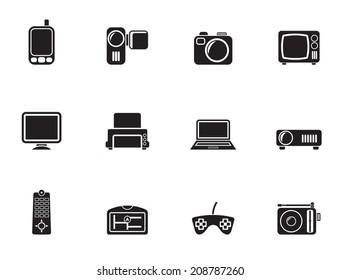 Silhouette Hi-tech technical equipment icons - vector icon set