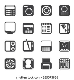 Silhouette Hi-tech and technology equipment - vector icon set 4