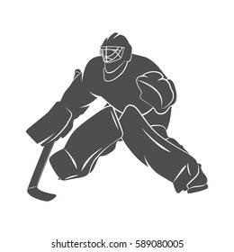 Silhouette hockey goalie player on a white background. Vector illustration.