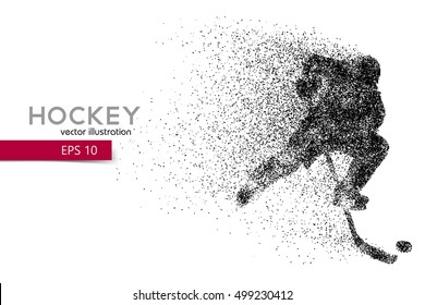 silhouette of a hockey player. Background and text on a separate layer, color can be changed in one click. hockey player. Similar images can be found in the portfolio.