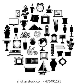 Silhouette of home decor. Set of accessories, icons and souvenirs isolated on white background. Vector illustration. Elements of interior design.