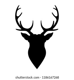 Silhouette horned deer on white background. Vector illustration.