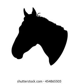 Silhouette of horse head on white background. Profile. Art vector illustration.
