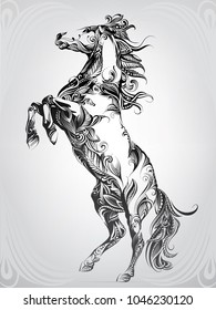 Silhouette of a horse in ornament