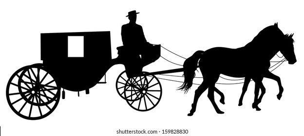 Silhouette of a horse put to a cart on white, vector illustration