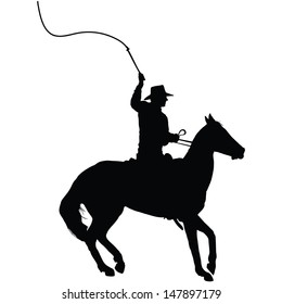 Silhouette of a horseman cracking a whip