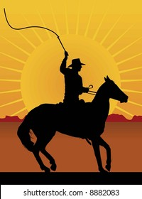 Silhouette of a horseman cracking a whip with a sunset/sunrise in the background