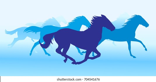 Silhouette horses running in blue background