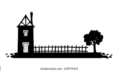 Silhouette of house, fence and tree
