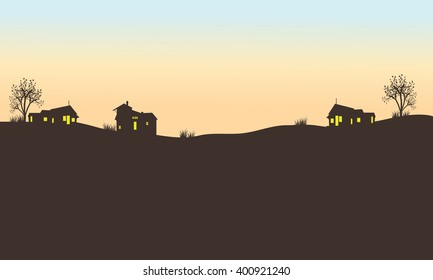 Silhouette of house in field at the afternoon