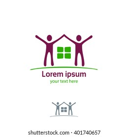 Silhouette of the house and joyful people vector logo template.