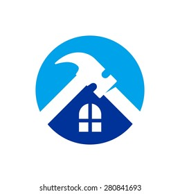 Silhouette of a house with a wrench and a hammer. Vector image.