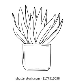 Silhouette houseplant isolated on white background. Cartoon ink sketch. Hand drawn vector illustration.