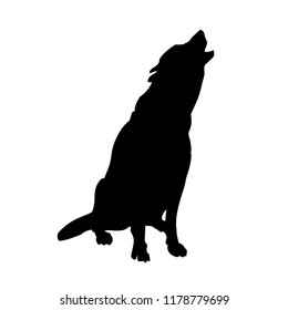 Silhouette of howling gray timber wolf. Vector illustration isolated on white background