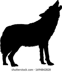 Silhouette of a howling wild wolf for Halloween design element. Vector illustration.