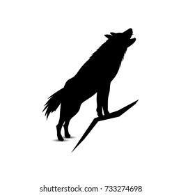 Silhouette of howling wolf.