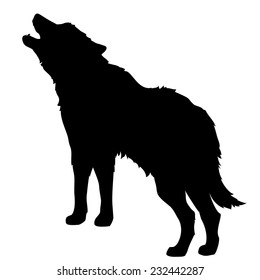 silhouette of a howling wolf or a dog barking, isolated object