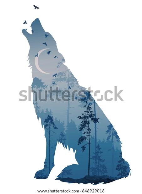 遠吠えする狼のシルエット その中には謎の夜間の森があり 月や飛ぶ鳥がいます ベクターイラスト 分離型オブジェクト のベクター画像素材 ロイヤリティフリー
