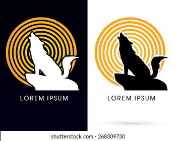 Silhouette Howling wolf with line moon light, sign ,logo, symbol, icon, graphic, vector.