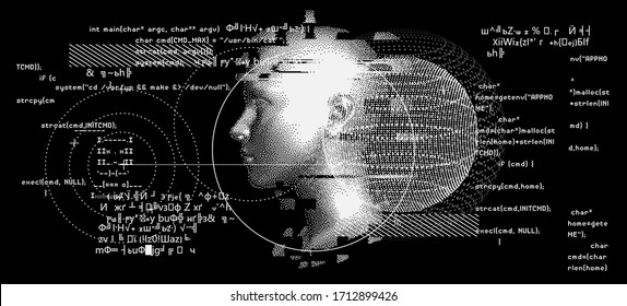 Silhouette of a human head. Conceptual image of AI (artificial intelligence), VR (virtual reality), Deep Learning  and Face recognition systems. Cyberpunk style vector illustration.