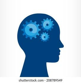 silhouette of a human head jigsaw. innovation management