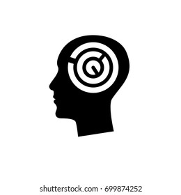 Silhouette of human head with maze inside. Vector illustration