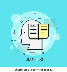 Silhouette of human head and opened book. Concept of learning, reading, knowledge, education and educational process, intelligence, thinking. Modern vector illustration for web banner, advertisement.