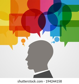 Silhouette human head surrounded by brightly colored speech bubbles.  Concept of communication. File is saved in AI10 EPS version. This illustration contains a transparency