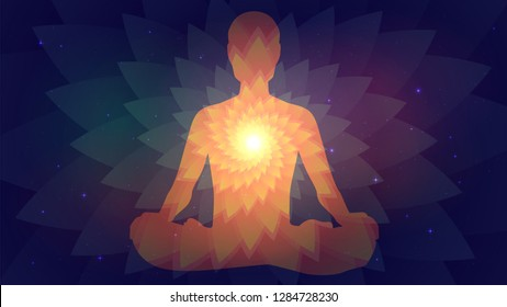 Silhouette of human sitting in the lotus position on fractal background. Meditation, yoga, trans