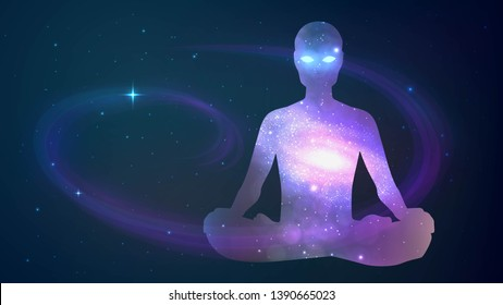 Silhouette of human sitting in the lotus position on cosmos background. Meditation, yoga, trans