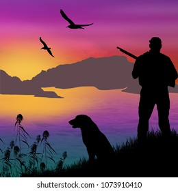 Silhouette of a hunter with dog on beautiful sunset, vector illustration