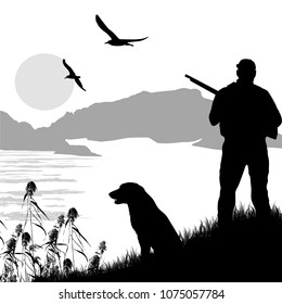 Silhouette of a hunter with dog on beautiful place, vector illustration