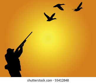 Silhouette of the hunter of ducks on an orange background