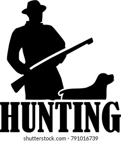Silhouette of a hunter with hunting rifle and dog