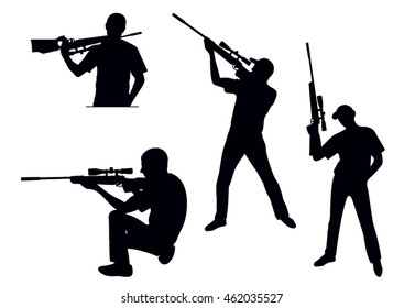 Silhouette of the hunter with a rifle on a white background in various poses