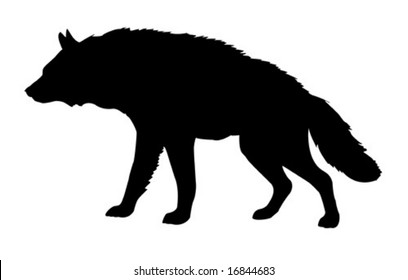 silhouette hyena isolated on white background