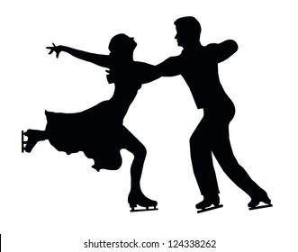 Silhouette of Ice Skater Couple in Embrace Back Kick