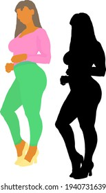 Silhouette icon of a big beautiful girl. Vector illustration.